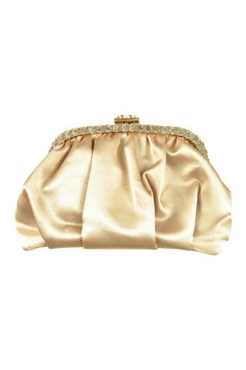 ベージュシャンパンクリスタルバッグ