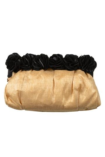 ゴールド×ブラックフラワーバッグ