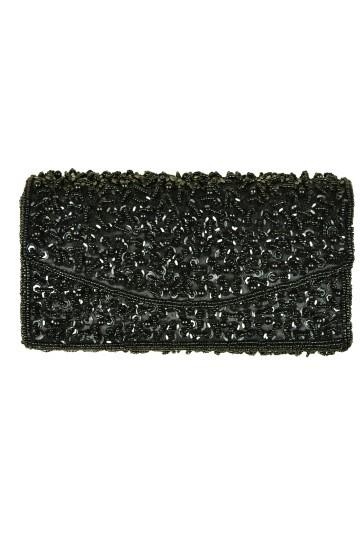 ビーズ装飾ブラックバッグ