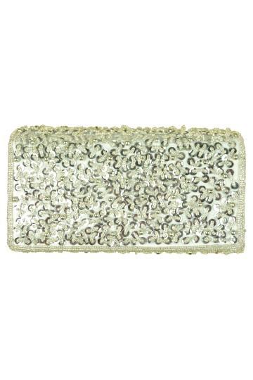 ビーズ装飾シルバーバッグ