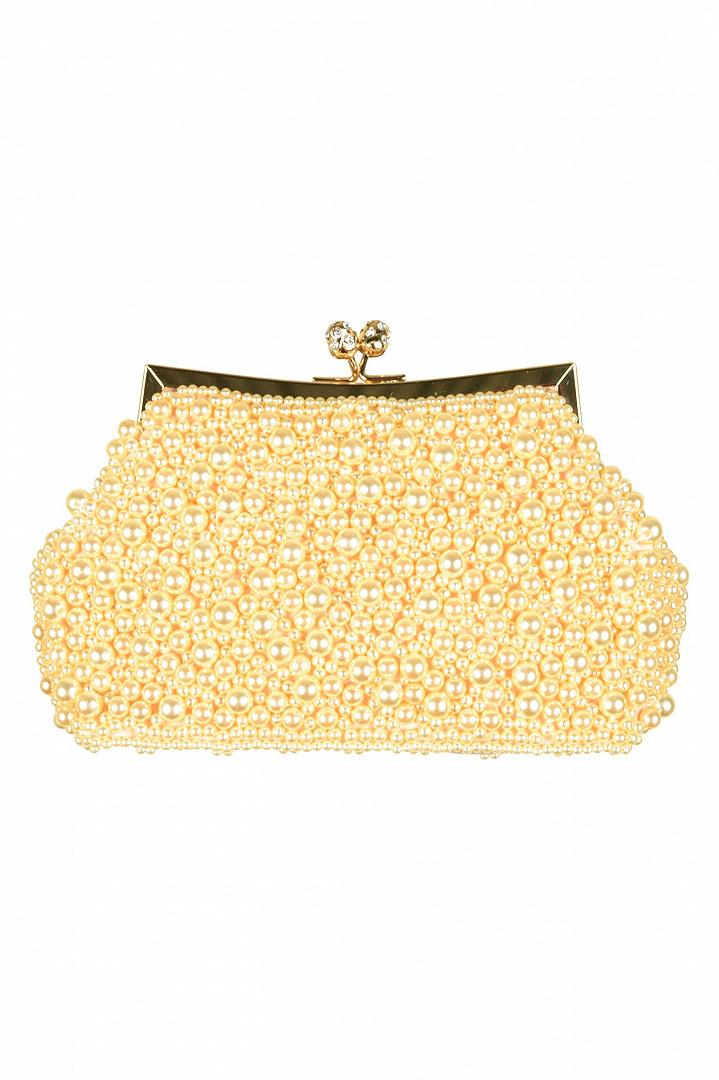 パールビジュがま口ゴールドバッグ