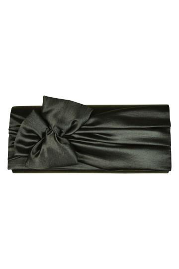 リボンモチーフブラッククラッチバッグ