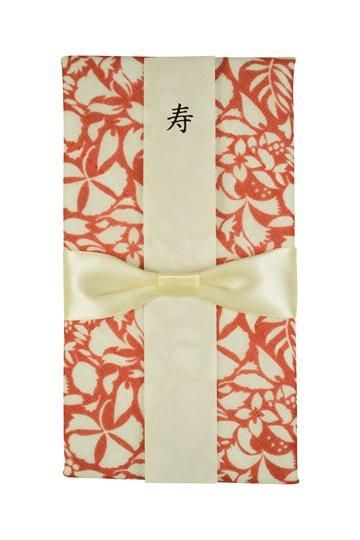【祝儀袋】金封 かやふきん草花柄レッド