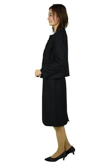 上品ツイードブラックスーツセット